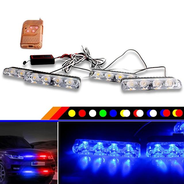 4 piezas 16 LED rojo y azul parpadeante 12 V coche camión de emergencia Flasher tablero estroboscópico advertencia día de funcionamiento luces de policía Led Flash