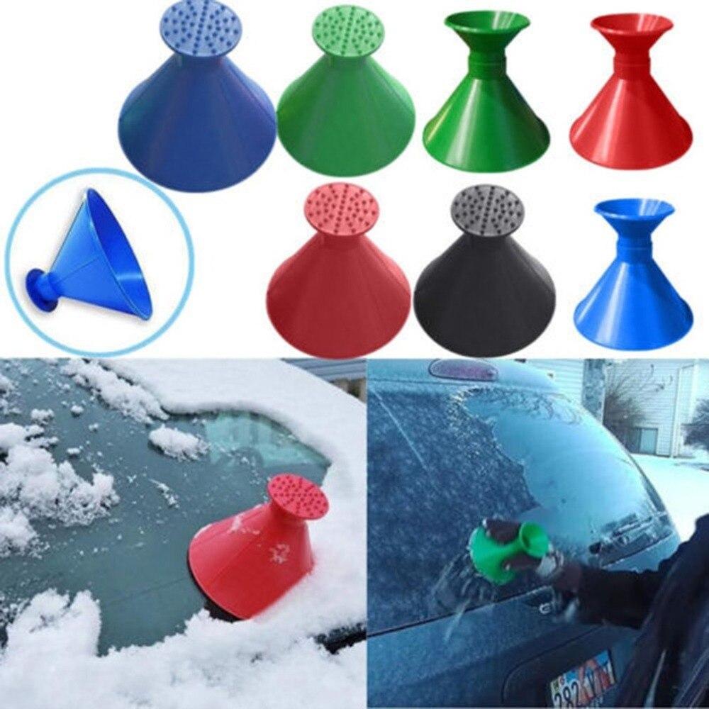 2pcs/set Ice Scraper Scrape A Round Magic Cone-Shaped Windshield Ice Scraper Snow Shovel Tool + Funnel