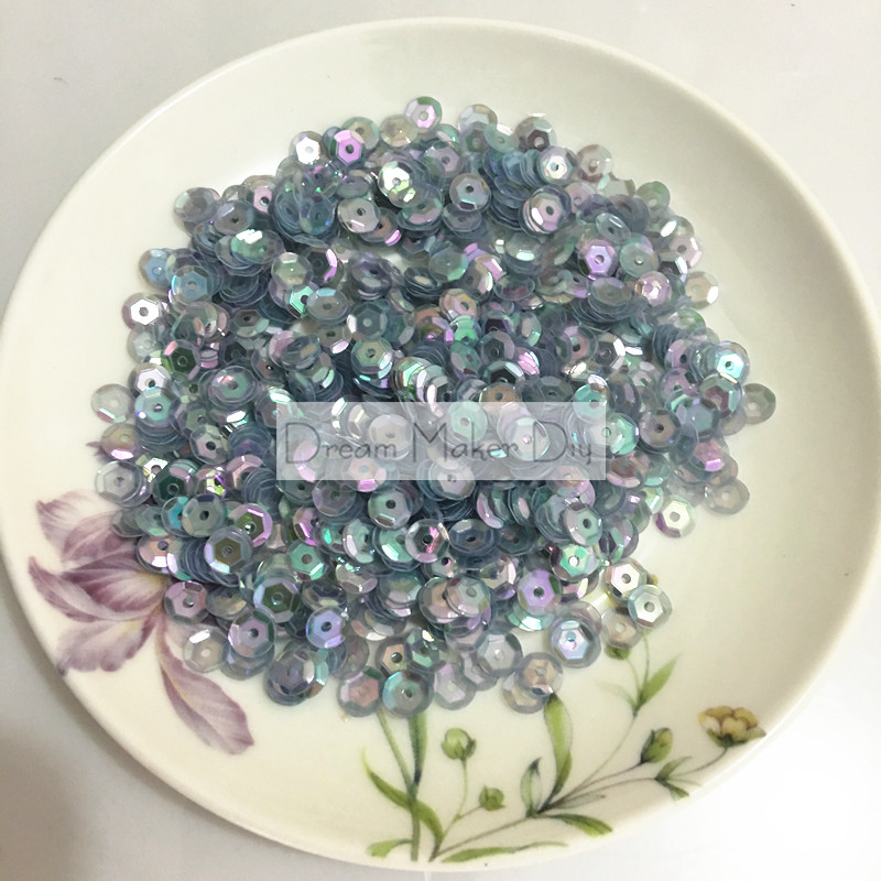 3000 pcs/lot (50grams) Sewing Accessories 6mm Round Cup Sequins Transparent Brilliant Blue for Crafts Scrapbook and Sewing Diy