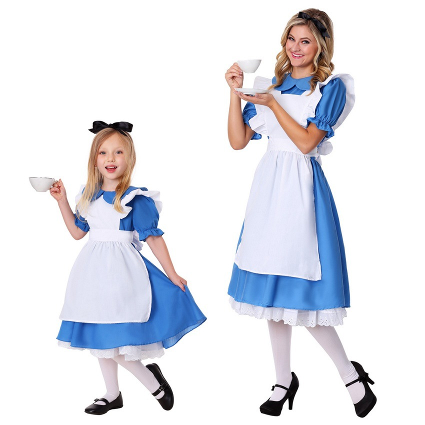 Kids Girls Blue Alice Costume Alice In Wonderland Party Maid Lolita Cosplay Adult Women Halloween Princess Fancy Dress Up Outfit