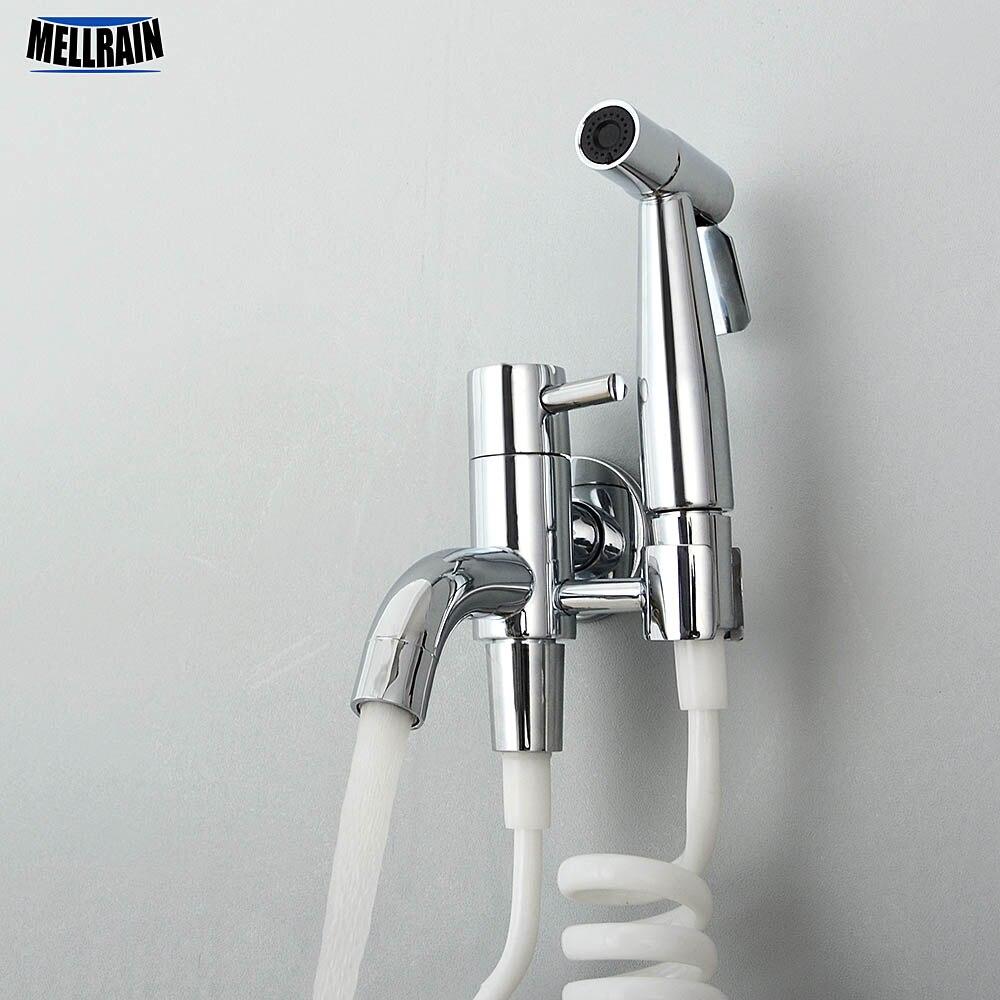 Kit de pulvérisateur de Bidet de toilette de salle de bains. Robinet de Bidet mural noir et chromé robinet d'eau froide en laiton massif tuyau de 3 mètres