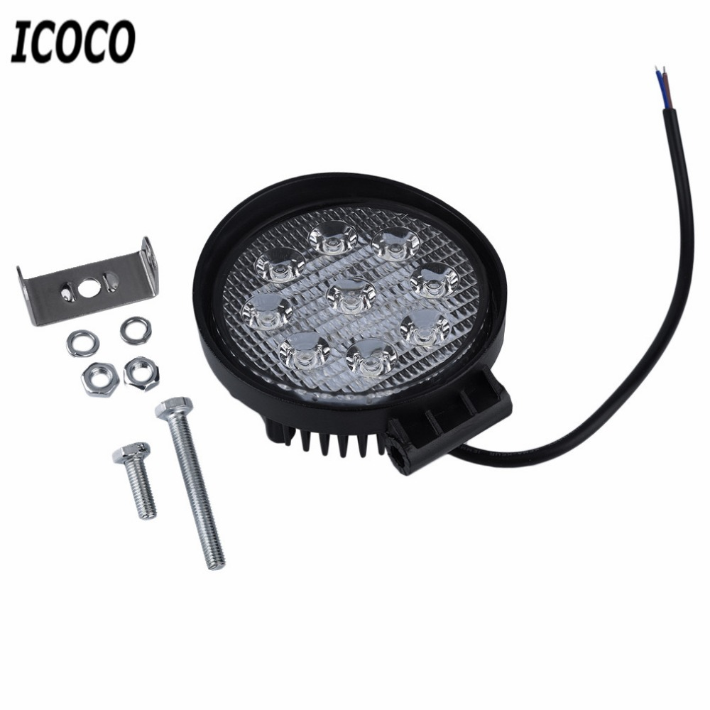 ICOCO 4 Inch 27W 10-30V DC Flood Beam LED Bulbs Work Light Lamp Portable Bar Boat Tracto ...