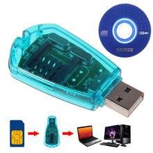 Cópia azul do leitor de cartão de usb sim/clonador/escritor/kit de backup leitor de cartão sim gsm cdma sms backup + cd disco