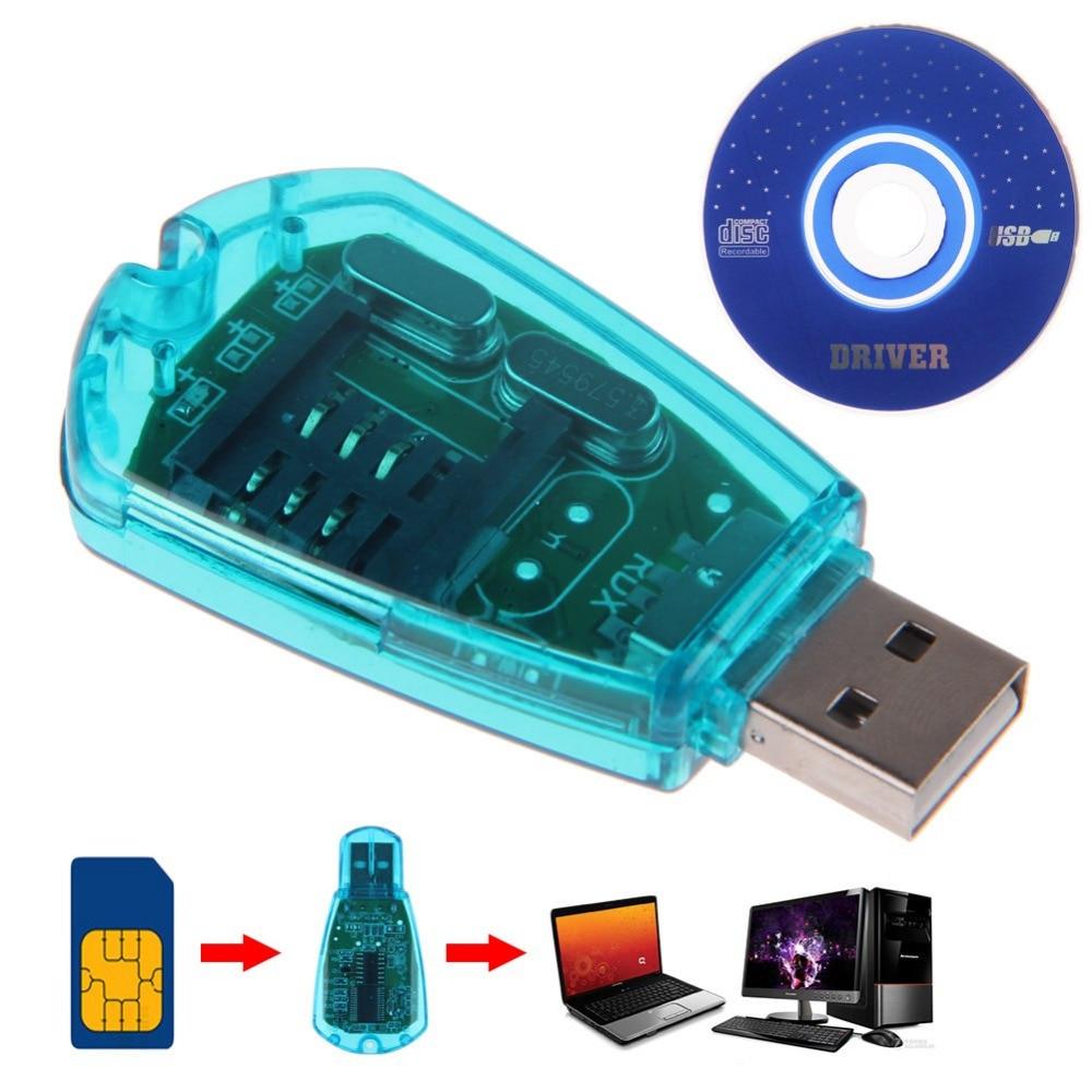 Hot Sale ! Blue USB SIM Card Reader Copy/Cloner/Writer/Backup Kit SIM Card Reader GSM CDMA SMS Backup + CD Disk