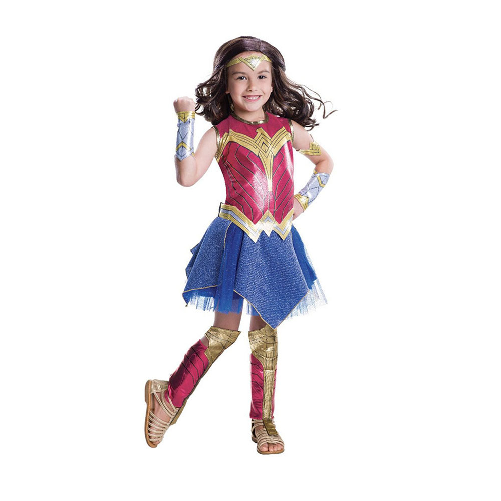 Kids Wonder Woman Costume Dawn Of Justice With Headband Hollywood Party Cosplay Costume Kids 2018 Summer Dress Party Dress