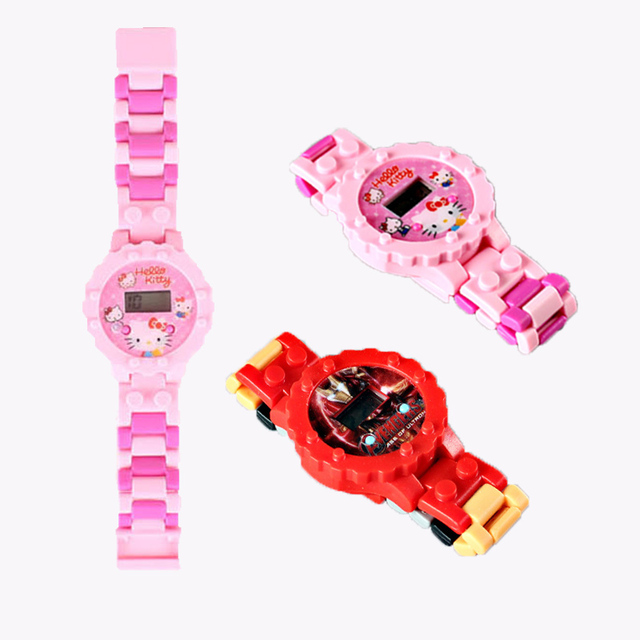 Building Blocks SpiderMan Children Watches DIY Assembly Cartoon Child Watch Boys Girl Gift Kids Clock Reloj Relogio Montre Saat