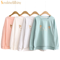 2016 New Autumn Winter Women Cat Ear Embroidery T Shirt Female Loose Round Neck Cute T