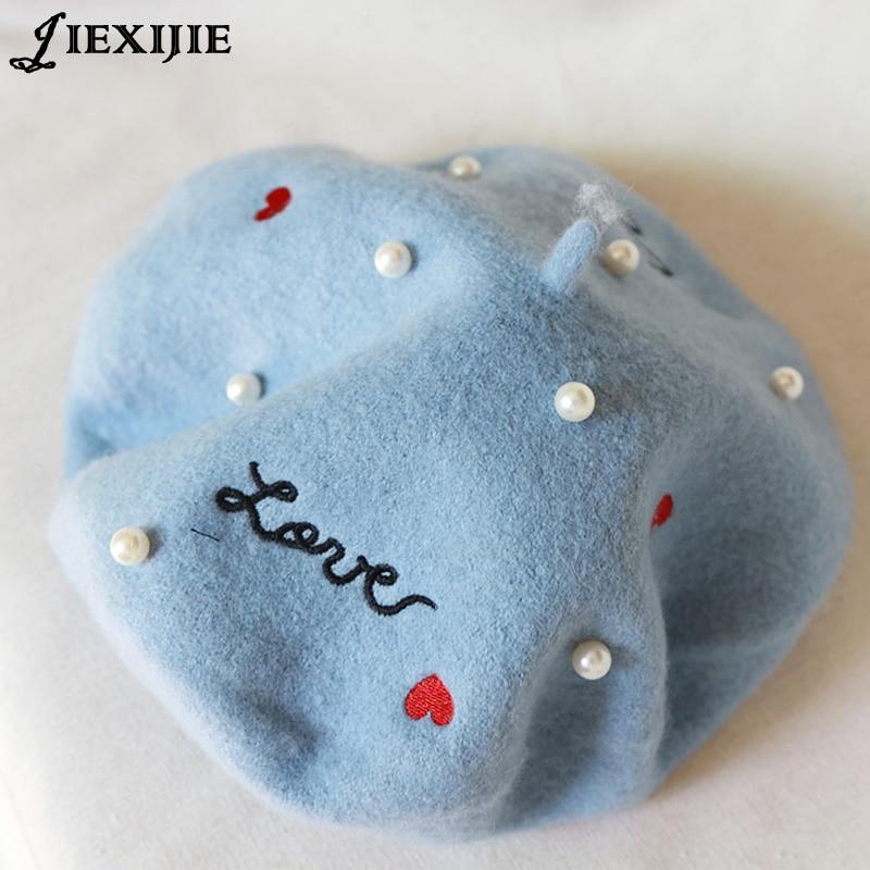 Giapponese sorella morbido ricamo lettere perla lana berretto cap pittore cotto torta di grano cap gemme calde cappello ragazza di autunno e winter68