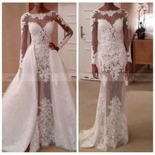 Crockoonboo Long Sleeves Mermaid Wedding Dresses