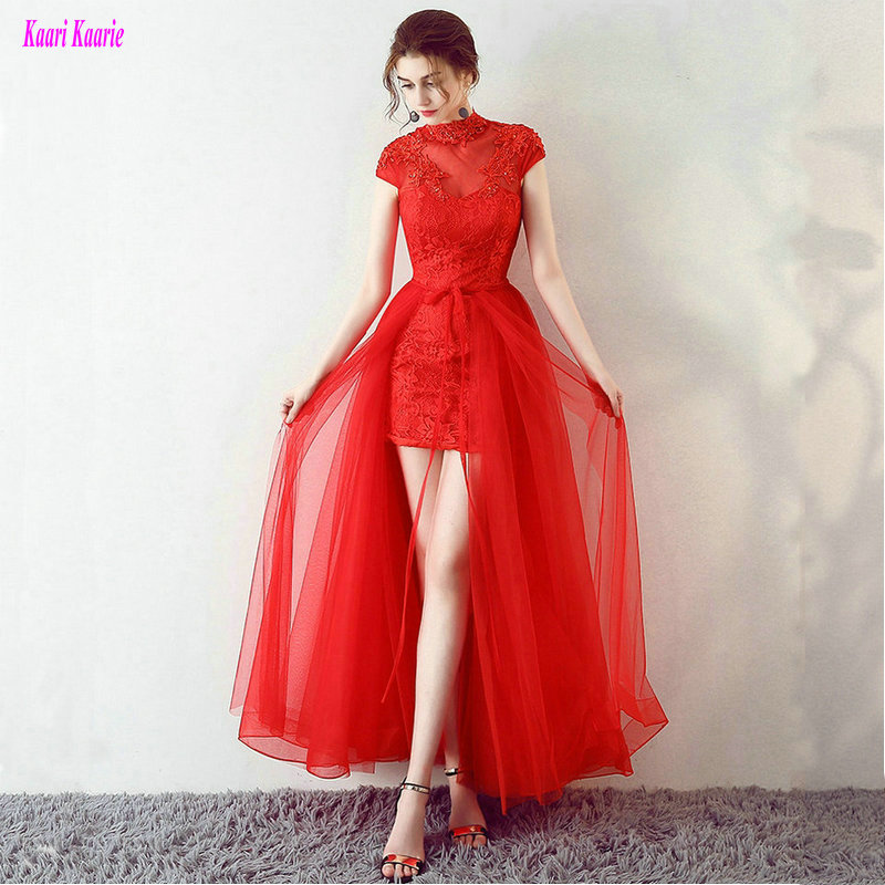 Fashion Red Plus Size   Prom     Dresses   2019 Sexy   Prom     Dress   Short Tulle Appliques Beading Built-In Bra Women Party Gown Custom Made