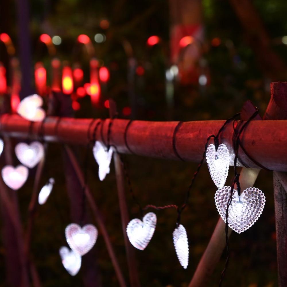 4.8 м 20 светодиодный сердца строки гирляндой с Панели солнечные Водонепроницаемый свет шнура для фестиваля открытый сад для рождественской ...