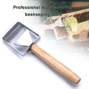 Image 4 - Stainless Steel Honey Scraper Bee Hive Honey Uncapping Fork Scraper Shovel With Wooden Handle Beekeeping Tool