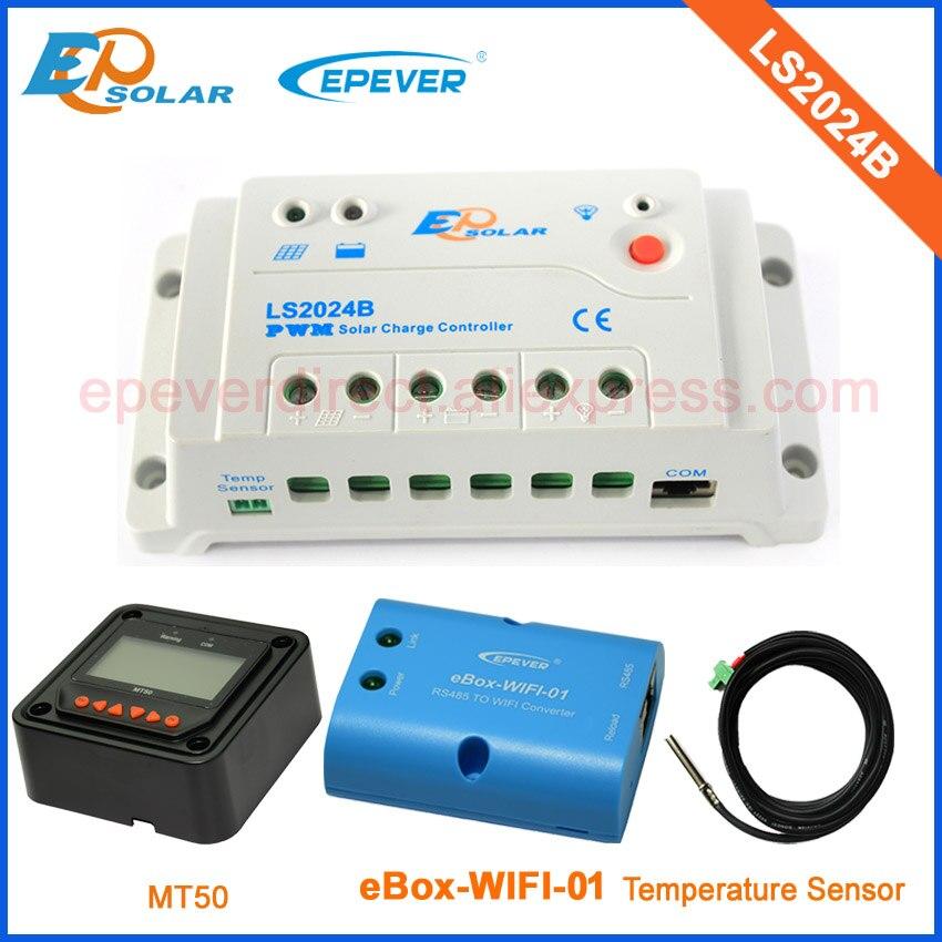 Régulateurs solaires à panneau Epsolar avec compteur à distance MT50 LS2024B fonction wifi connecter APP et capteur de température 20A