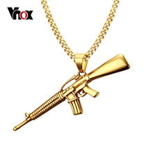 Vnox Gold-color Gun Necklaces & Pendants Stainless Steel 24inch Chain Men Rock Jewelry
