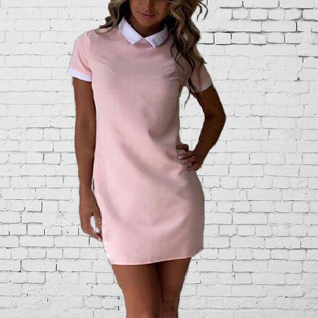 54d918f0a1 Naiveroo School Preppy Style White Collar Short Sleeve Summer Mini Dresses  Summer Cute Peter Pan Collar Ladies Office Vestidos