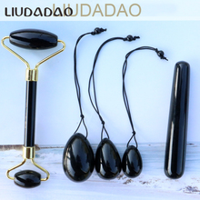 Stone Women Massager Set Natural Black Obsidian Rollers Yoni Wands Set Beauty Body Relax Yoni Eggs with Beads Health Massager цены