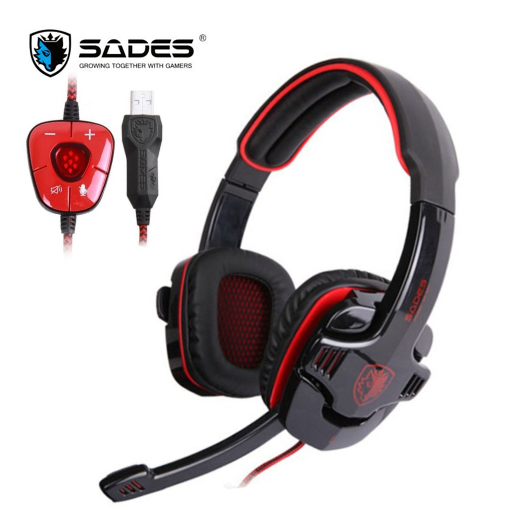 SADES SA901 Game Headphones Virtual 7.1 Stereo Surround USB Gaming Headset Earphone with Microphone Noise Canceling for PC Gamer each g8200 gaming headphone 7 1 surround usb vibration game headset headband earphone with mic led light for fone pc gamer ps4