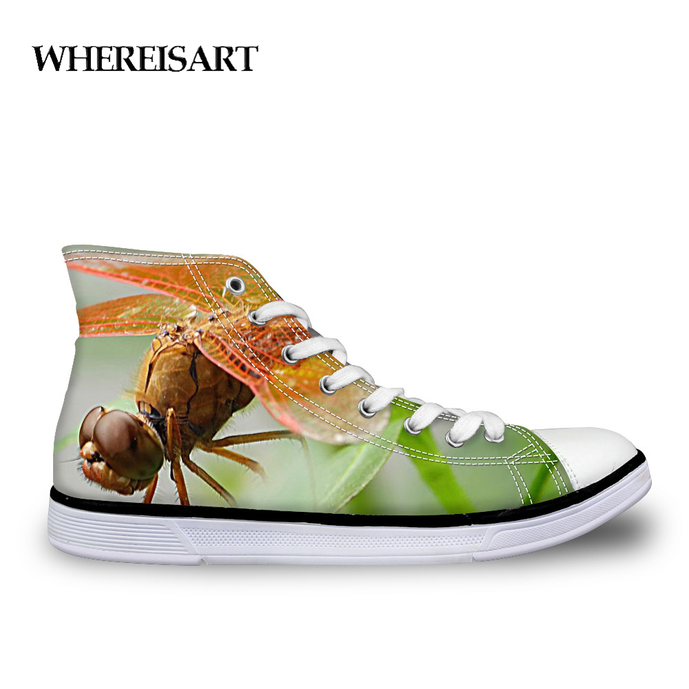 WHEREISART/повседневная женская обувь на шнуровке; стильная Вулканизированная парусиновая обувь с 3D принтом в виде стрекозы; удобная обувь с выс