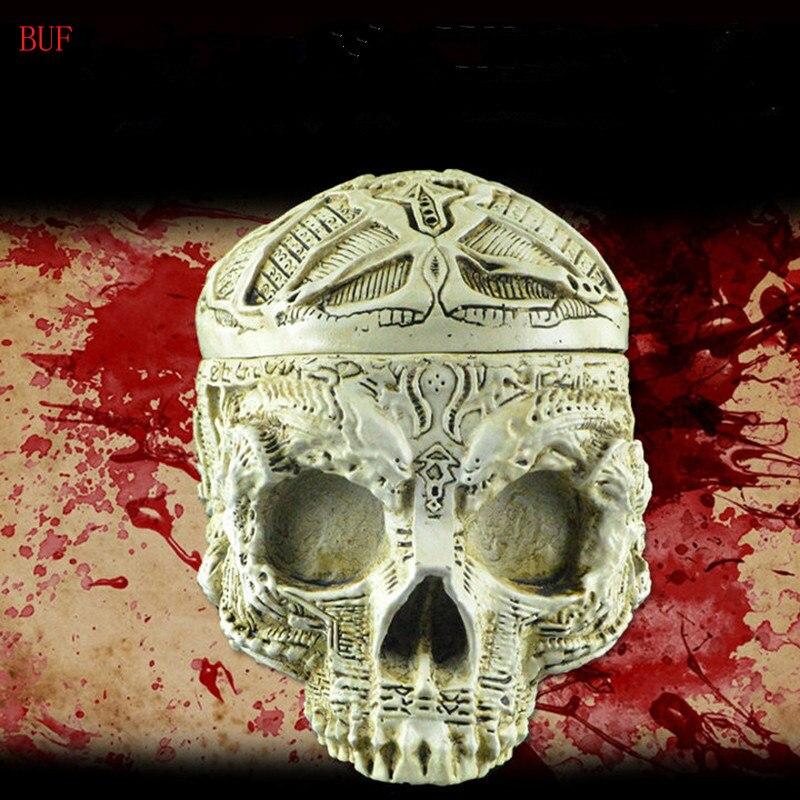 BUF résine artisanat Statues pour décoration crâne cendrier cadeau créatif crâne Figurines Sculpture décoration de la maison accessoires grand Pot