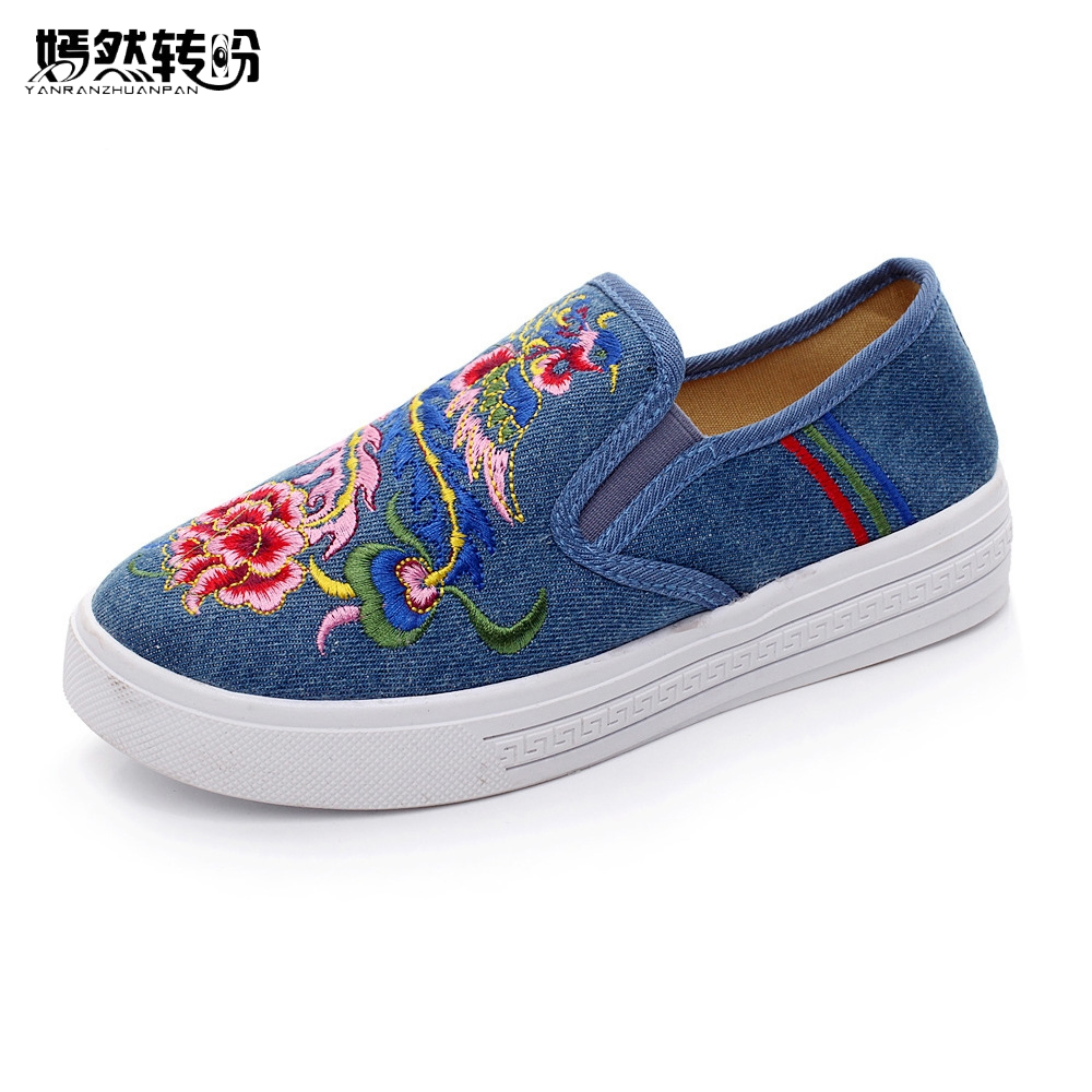 Vintage Women Flats Shoes Phoniex Embroidered Casual Canvas Platform Loafers Ladies Slip On Cotton Sapato Feminino