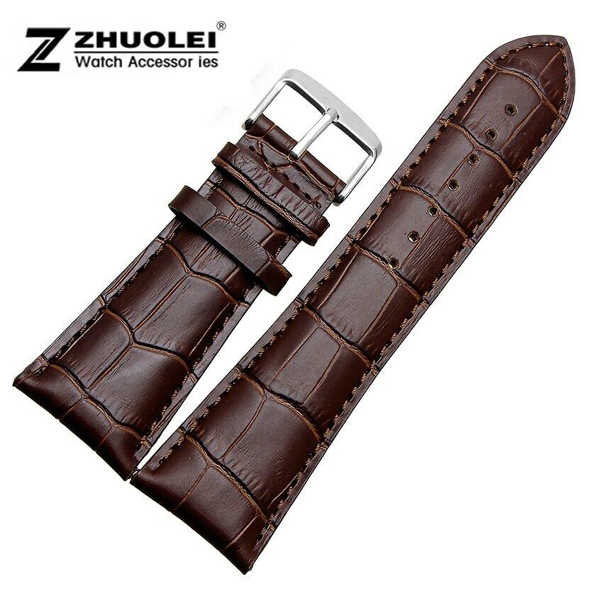 Pour hommes Grande largeur de bande de Montre 22mm 23mm 24mm 26mm 28mm NOUVEAU Brun Véritable En Cuir BRACELETS montres Bretelles livraison gratuite
