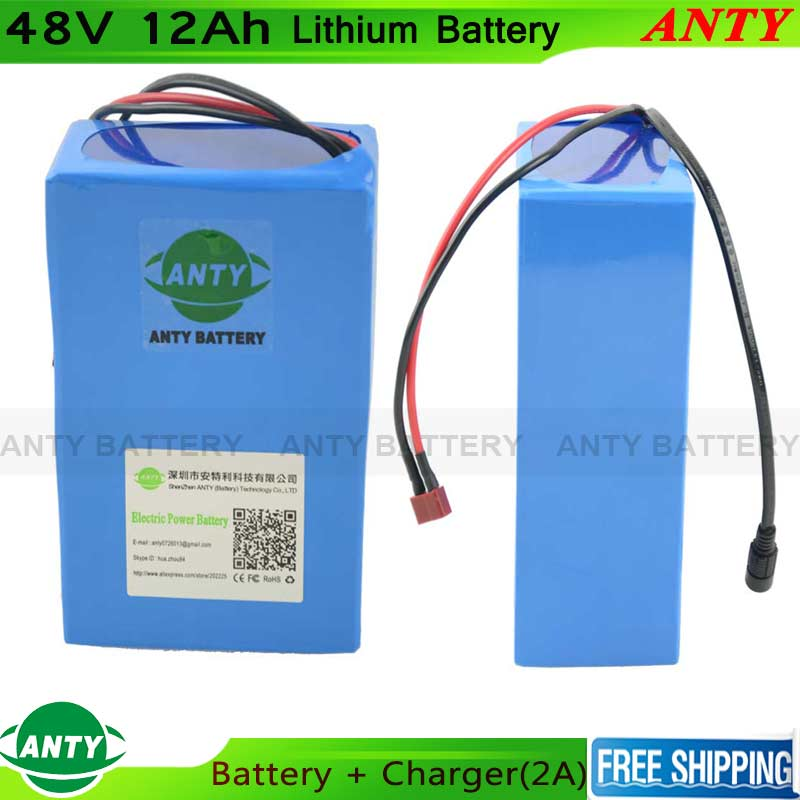 Lithium Battery 48V 12Ah 500W eBike Battery With 54.6V 2A Charger 15A BMS Electric Bicycle Scooter 18650 Battery Pack free shipping 48v 18ah lithium battery electric bicycle scooter 48v 1000w battery lithium ion ebike battery pack akku with bms