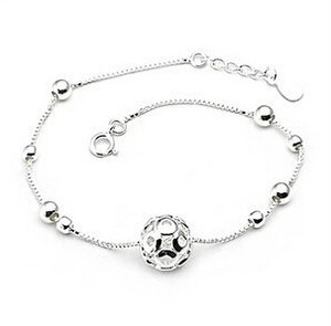 Hot Sale Promotion 2016 New Little Round Ball 925 Sterling Silver Anklets for Women Jewelry Gift