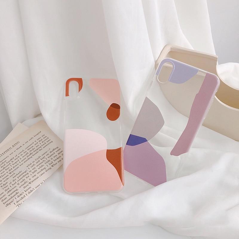 HKGK 2019 Fashion Splicing Pink Purple Transparent Case For iPhone 6 6s X 7 8 Plus XR XS MAX Geometric Soft TPU Back Cover
