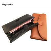 LingJiao Pai Long Women Wallet Luxury Female Genuine Leather Travel Credit Card Wallet Zipper Cell Phone