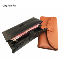 LingJiao Pai Long Women Wallet Luxury Female  Genuine Leather Travel Credit Card Wallet Zipper Cell Phone Pocket Handbag Cluth
