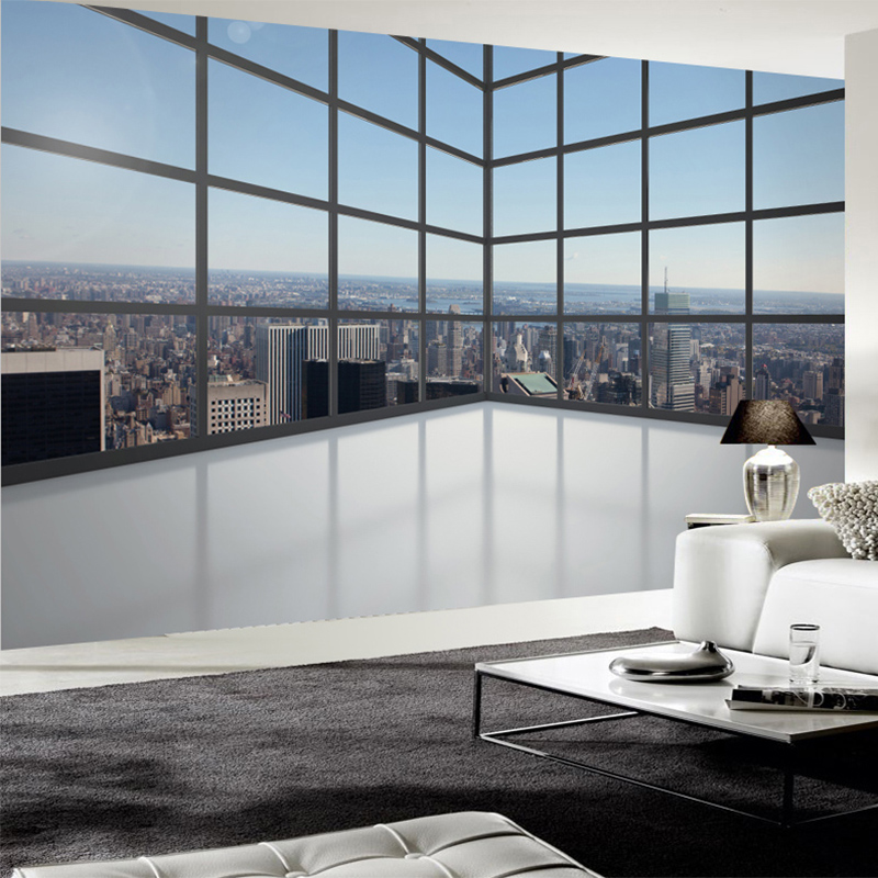Photo Wallpaper 3D Stereo Balcony Window City Building Mural Study Office Living Room Background Wall Covering Papel De Parede city building photo wallpaper for coffee shop living room