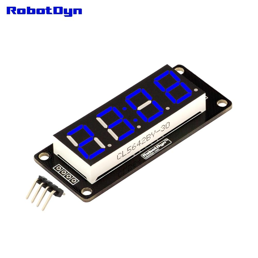 4-разрядный светодиодный 0.56 Дисплей труба синий (часы, двойной точек), 7-сегментов, tm1637, disp. Размер 50x19 мм