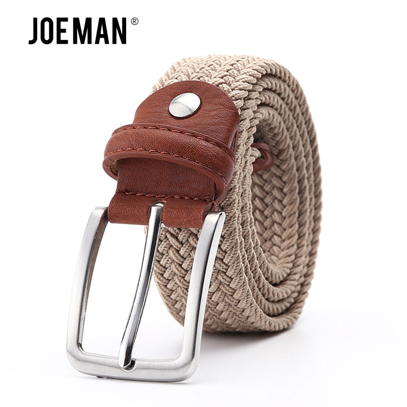 Men Elastic Belt Waistband Braided Style With Silver Buckle Stretch Belt Black Color Beige Color Blue Grey Navy Color