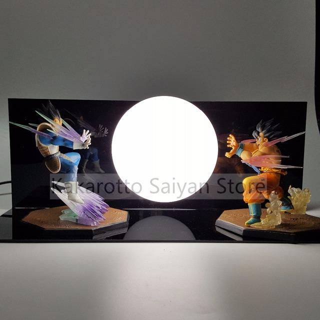 Dragon Ball Z Goku vs Vegeta Super Saiyan Figuras de Ação Anime Dragon Ball Z DBZ Collectible Toy Modelo + lâmpada + Base