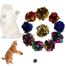 6/12Pcs Cat Toys Mylar Crinkle Ball for Cat Kitten Interactive Sound Ring Paper Playing Balls Funny Pet Cat Products