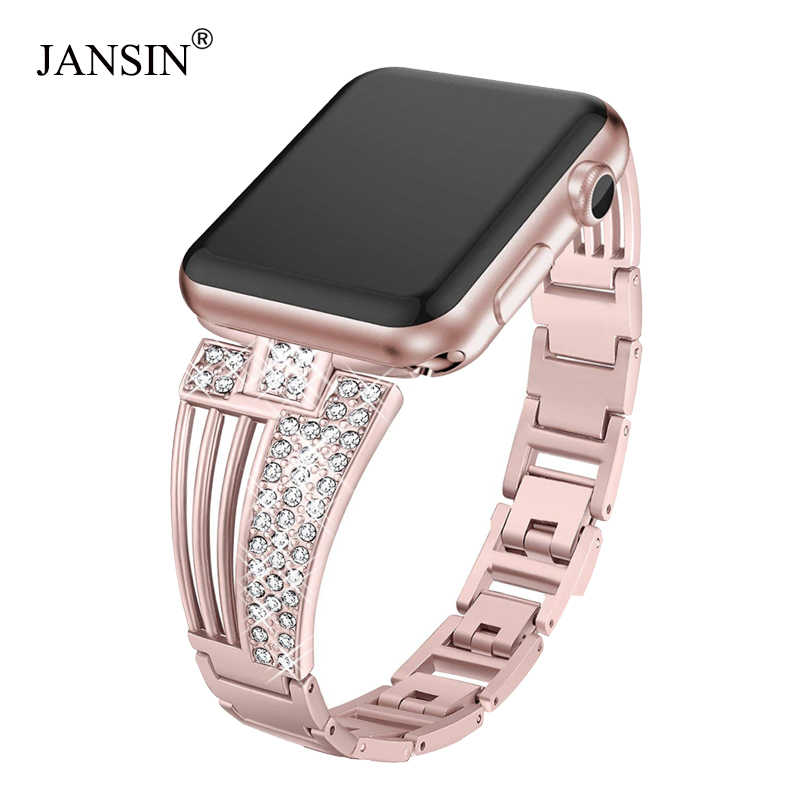 JANSIN women diamond strap for apple watch series 5 4 3 2 band for iWatch 38mm 42mm 40mm 44mm stainless stee strap link bracelet