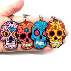 Image 5 - Calavera Sugary sweet whimsical skull Keychain Keyring Celebrate Mexican Day of the Dead Halloween Acrylic Sugar Skull Key Chain