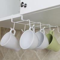 8 Hooks Cup Holder Rack Cupboard Hanging Shelf Dish Hanger Kitchen Space Saving Hook Bathroom Chest