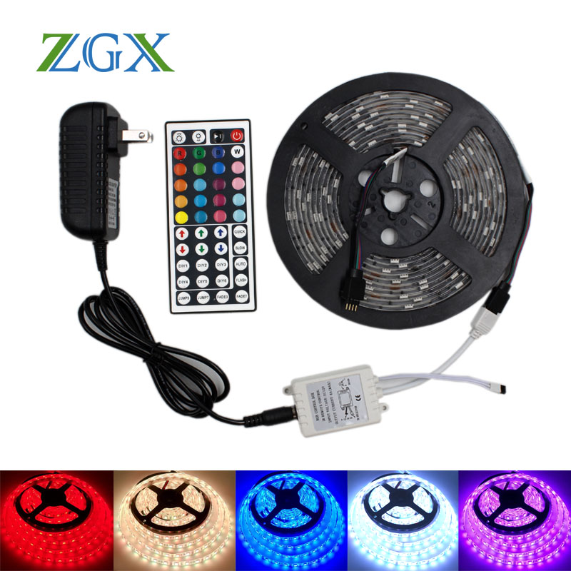 RGB LED de luz de tira de 5050 de 2835 3528 ip 20 impermeable de neón tira lámpara fita cinta IR controlador DC 12 V adaptador conjunto