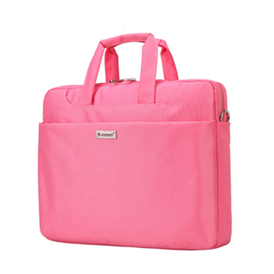 14-15 inch Laptop Bag Women Men Notebook Bag Shoulder Messenger Waterproof Computer Sleeve Handbag (Pink)