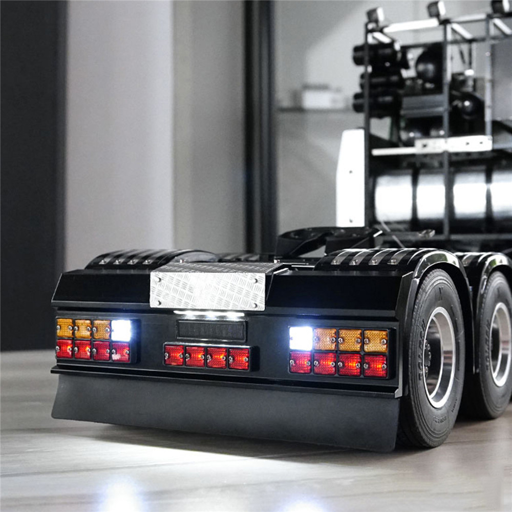 LED Square Rear Signal Light Set With Rear Bumper For Tamiya All 1/14 For Man Scania R620 R470 DIY Modified Car Accessories