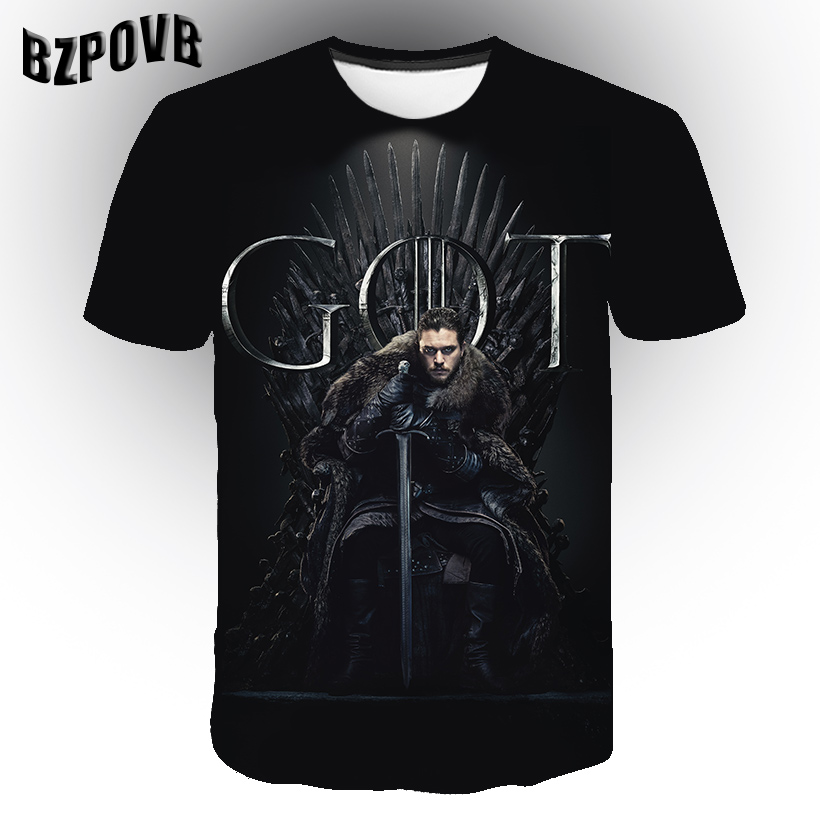 New Pattern Iron Throne 2019 Game Of Thrones T Shirt 3D Print T-Shirt Men Short Sleeve Summer Tops Tee Streetwear