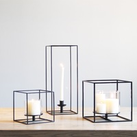 Hot Selling Simple Design Black Cuboid Candle Holder Metal Table Candle Stand For Living Room Decoration