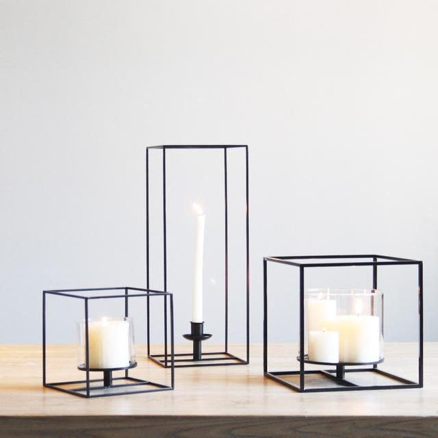 Square black cuboid metal tealight candle holders tabletop square black cuboid metal tealight candle holders tabletop decorative candlestick holder home wedding accessories decoration junglespirit Images