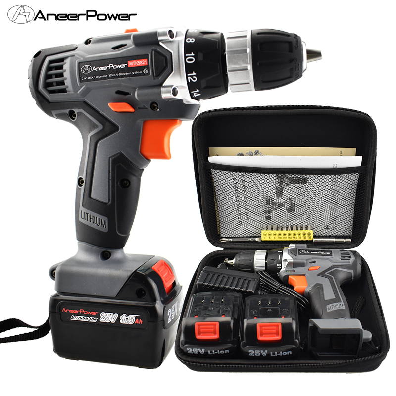 25V Cordless Screwdriver Electric Drill Tool Mini Battery Tools Drill Power Machine Electric For Cordless Drills Rechargeable 45pcs drills 4 8v cordless rechargeable reversible electric screwdriver tool set electric screwdriver with plastic case
