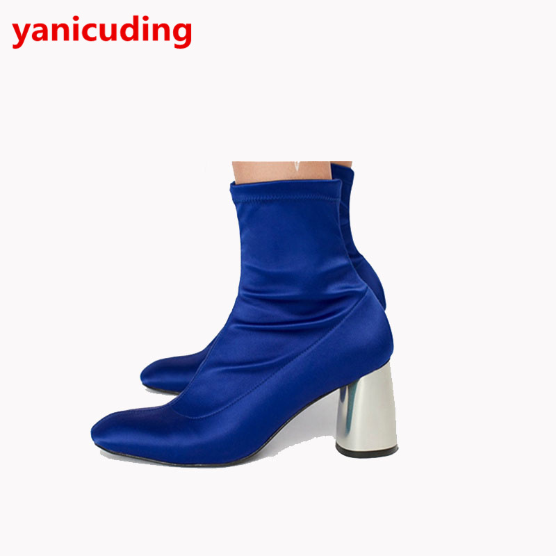 Satin Women Ankle Boots Metalic Color High Heel Fashion Women Short Booties European Style Zip Luxury Brand Runway Dress Shoes yanicuding round toe women flock ankle booties metal short boots zip design luxury brand fashion runway star autumn shoes flats