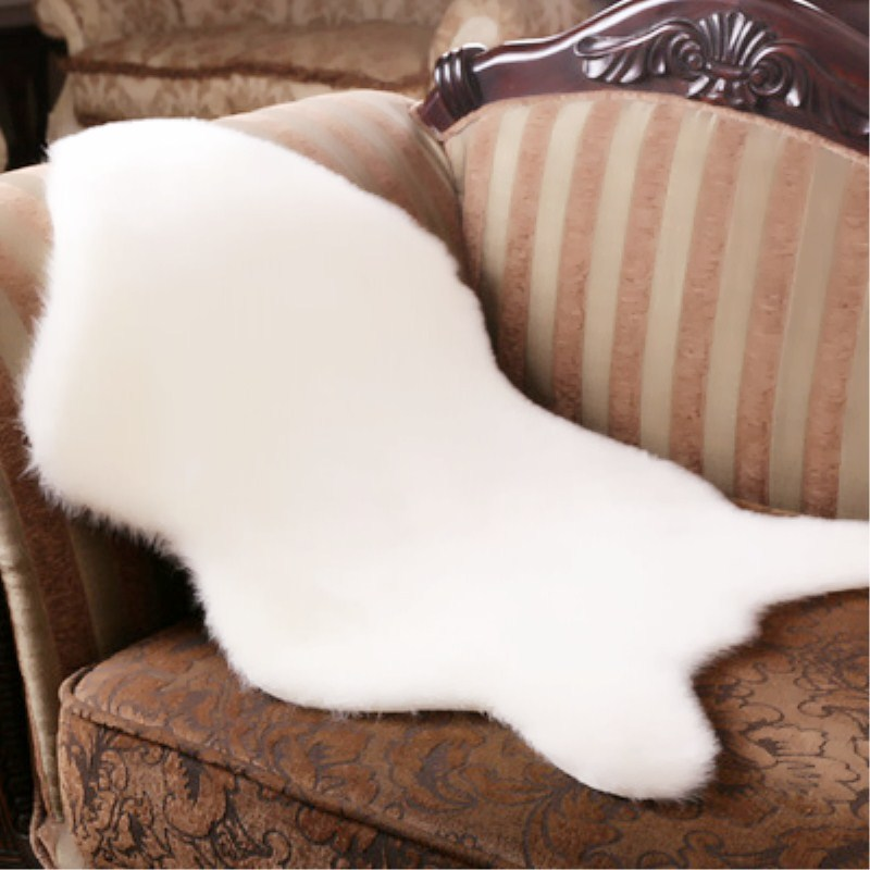 Soft Area Rugs Chair Sofa Cover Warm Hairy White Carpet Seat Pad Plain Skin Fur Plain Fluffy Washable Bedroom Faux Mat