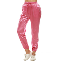 European 2016 Autumn Women Elastic High Waist Pencil Pants Sport Street Satin Beige Pink Casual Woman