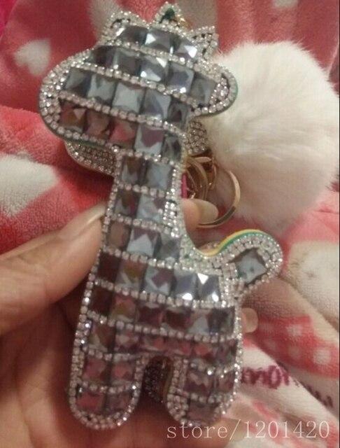 Шику женщины сумка подвески сумка ошибка шампанское горный хрусталь жираф натуральный мех помпонное брелок блеск бумажник кошелек подвески-подарки ручной работы