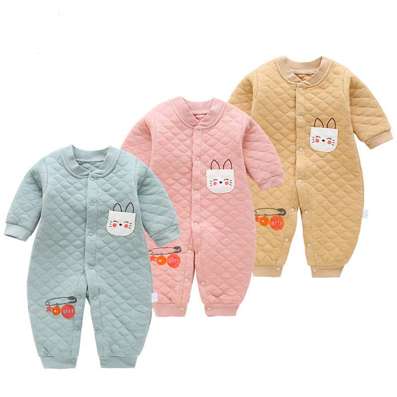 Newborn baby winter autumn warm   rompers   boys girls toddler thick cotton sleepwear for bebe infant soft jumpsuit baby clothing